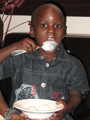 Amisi eating ice cream