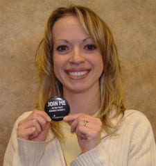 Amanda proudly displays a Join Me button