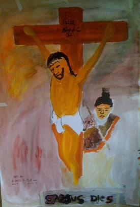 child's drawing of Jesus' crucifixion