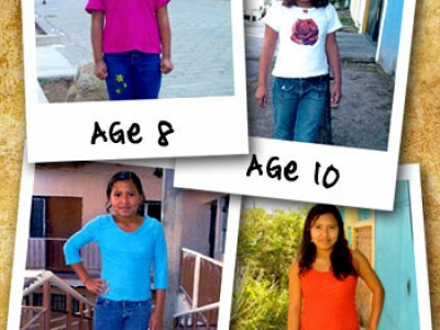 a collage of four pictures of a child at different ages