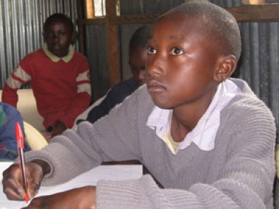 A child at a school desk