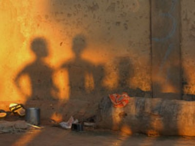 shadows of children on wall