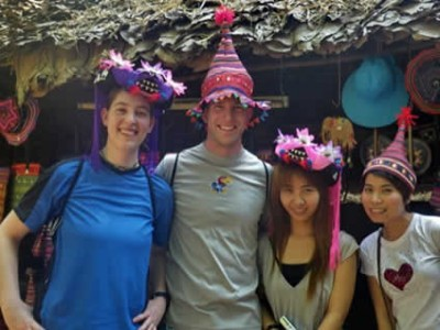 group of people with party hats on