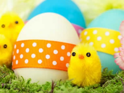 Several colored easter eggs