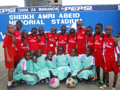 a group of children with two soccer balls
