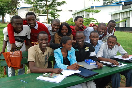 large group of smiling students