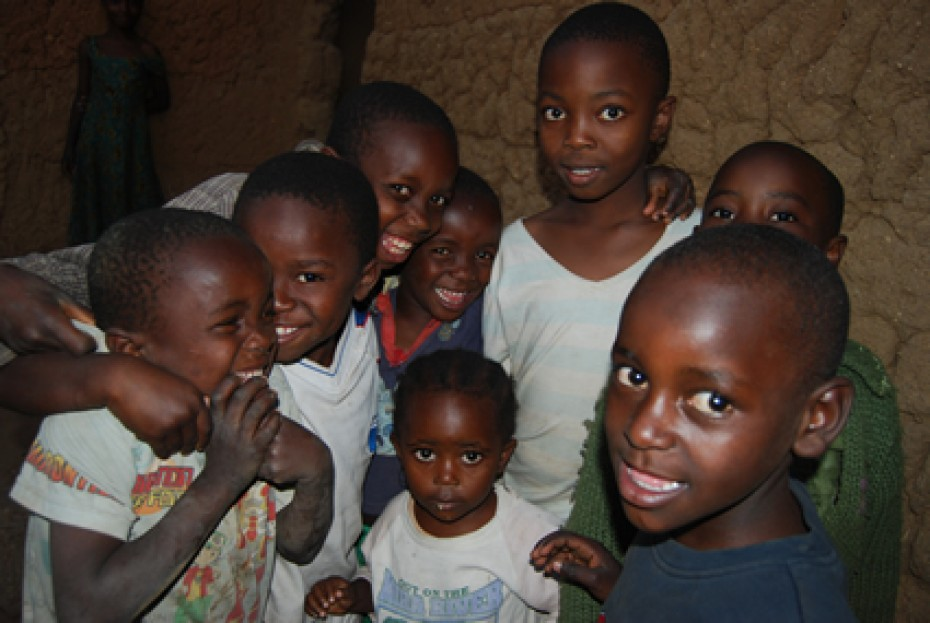 group of eight smiling children