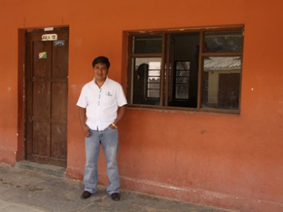 man standing outside building in Bolivia