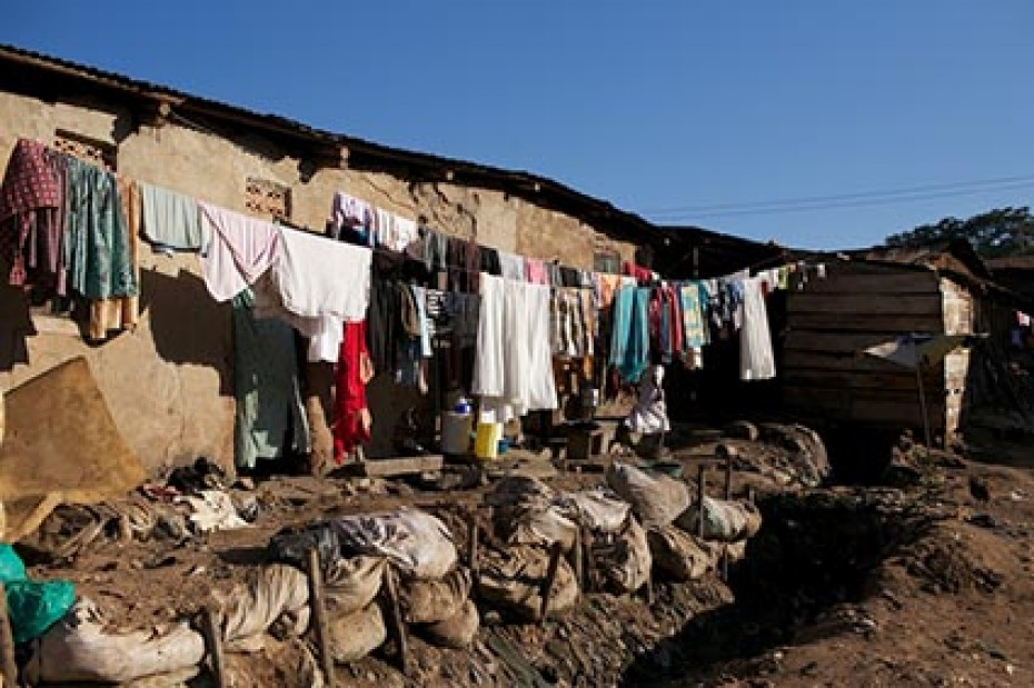 laundry drying outside on a clothesline in a slum