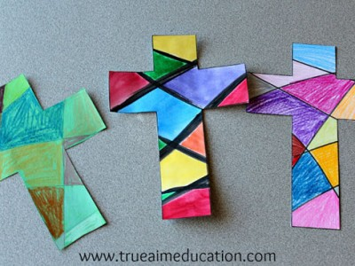 Crosses made with paper to look like stained glass by children