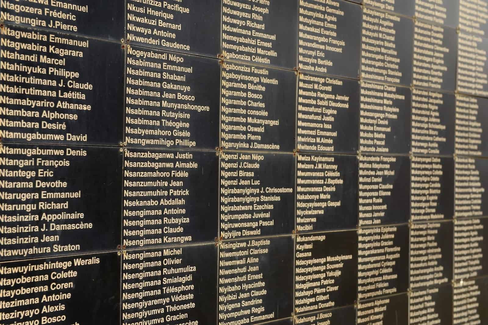 A black wall with a large number of names on it at the Genocide Memorial in Kigali, Rwanda.