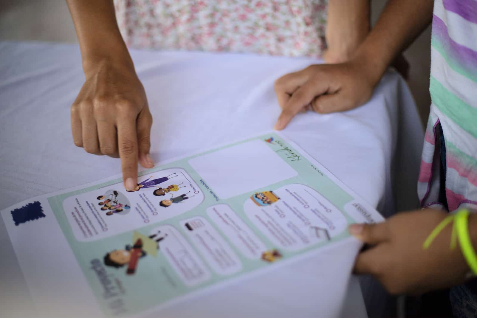 A letter is shown, with pictures on it and places to write. It lays on a table and two women's hands are pointing at it.