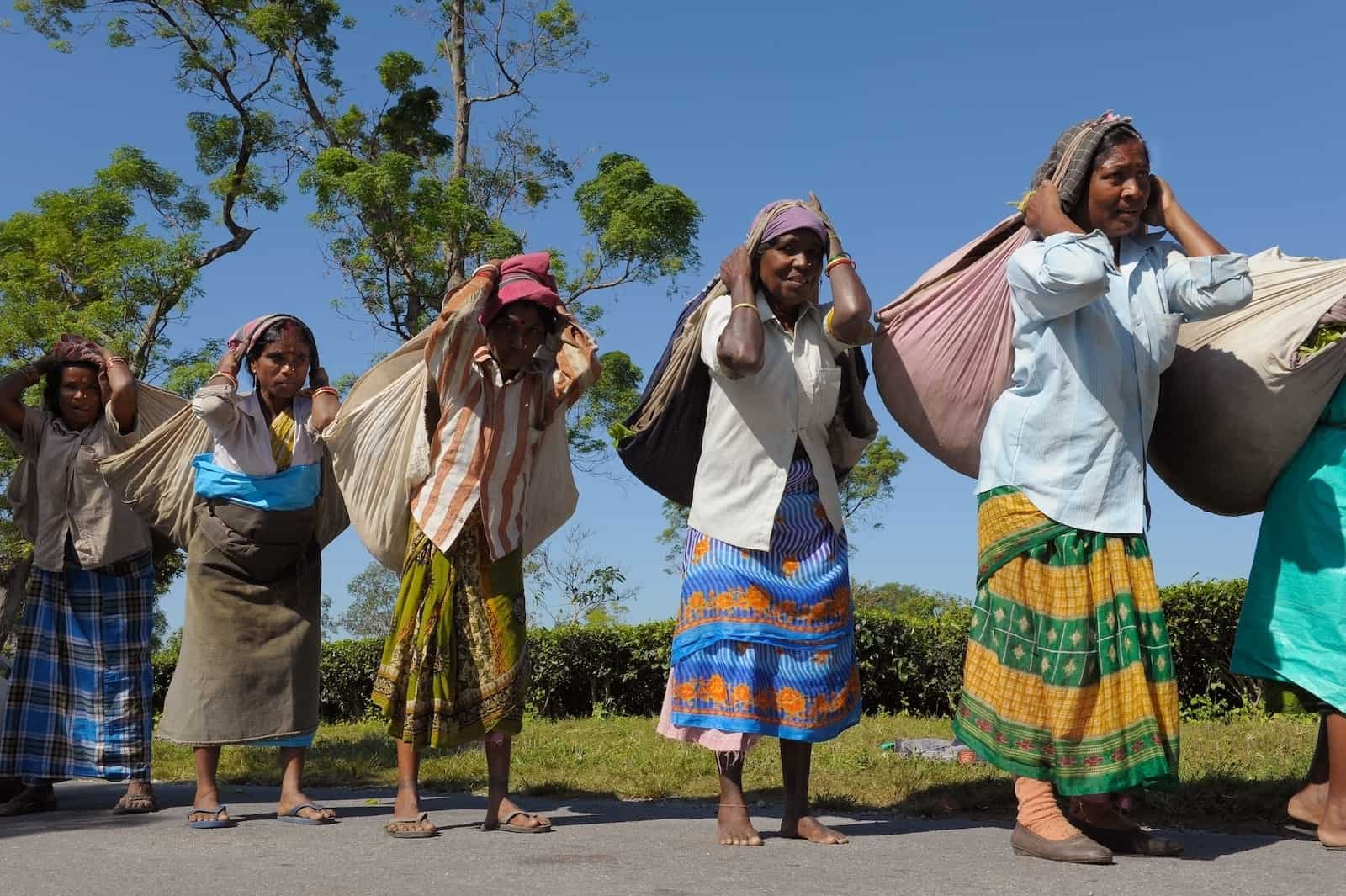 Women stand outside in a line carrying heavy bags full of tea leaves, the most popular drink in the world, strapped to their heads. They wear colorfully patterned skirts and shirts.
