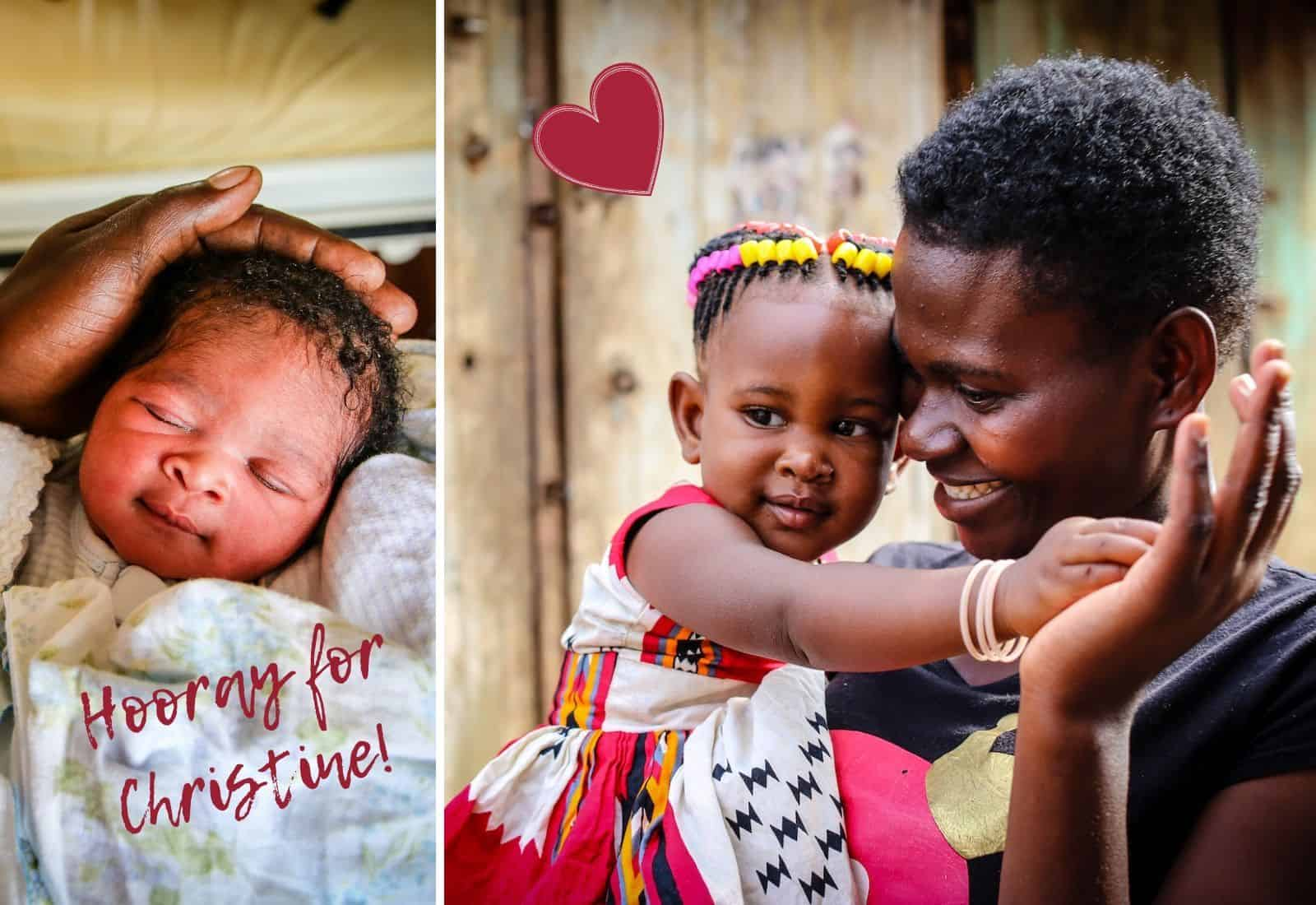 Two photo, one on the left of a newborn baby. Text reads: Hooray for Christine! On the right is a woman in a black shirt holding a girl in a red and white dress, smiling at her, celebrating her birthday milestone.
