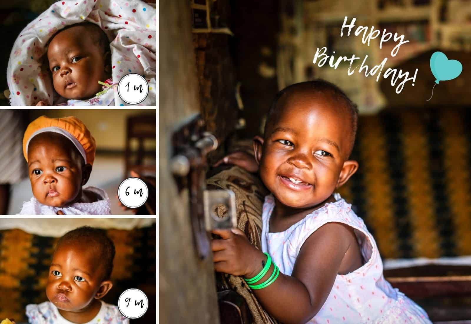 A collage of four pictures of babies at different ages. Text reads: 1 m, 3 m, 6 m and Happy Birthday!