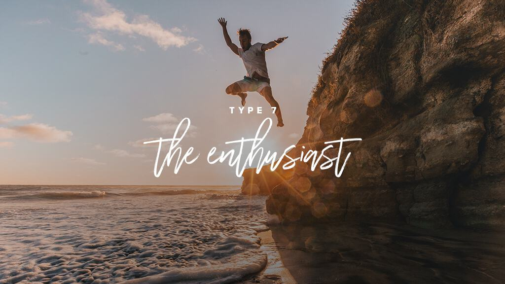 A man jumps off of a cliff into the water above a sunset. Text: Type 7: The Enthusiast