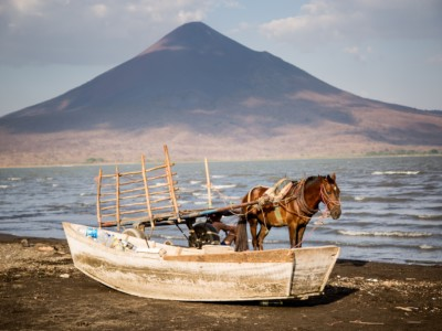 A horse stands next to a boat in front of a lake and volcano.