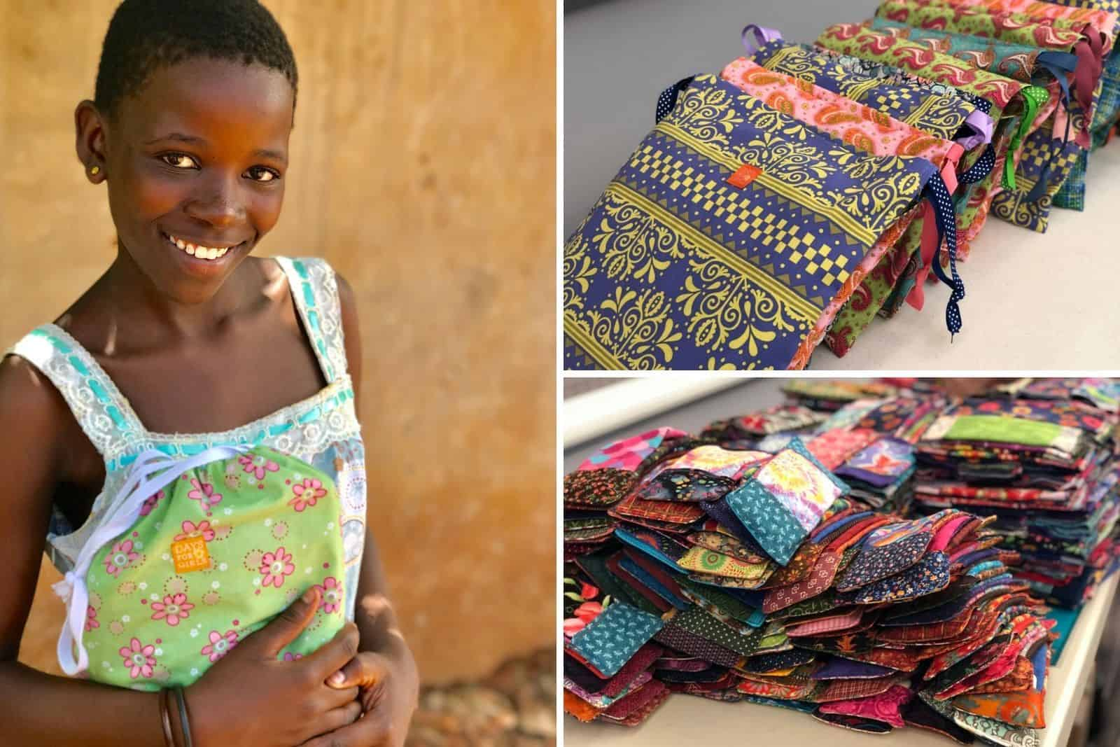 A picture of a girl holding a flowered cloth bag and colorful cloth pads.