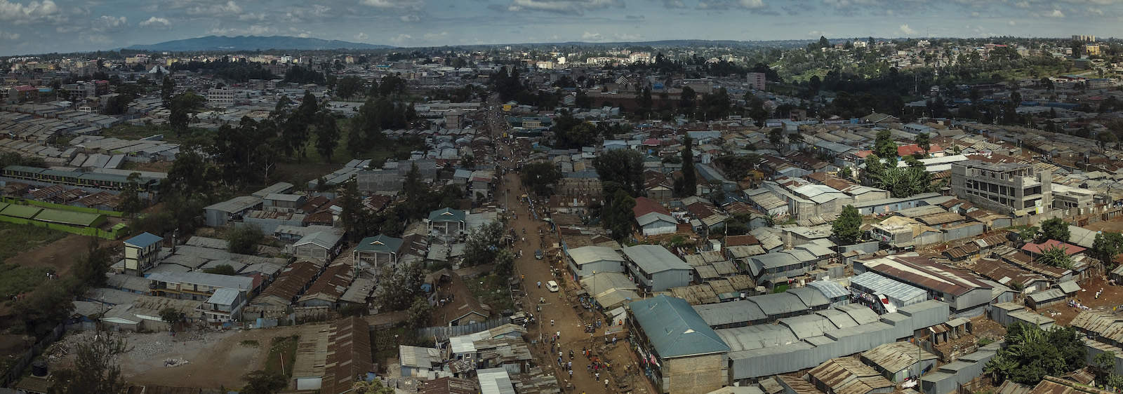 An overhead view of Kibera, a slum in Nairobi, Kenya