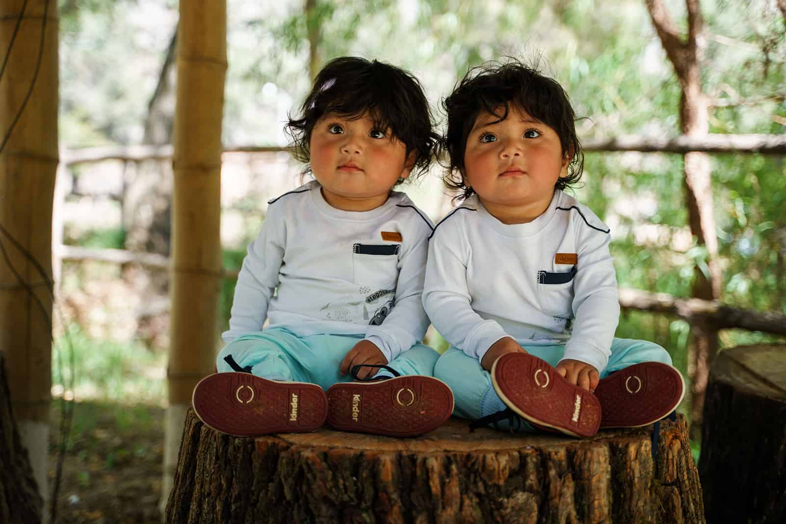 Two Peruvian toddlers sitting on a tree stump