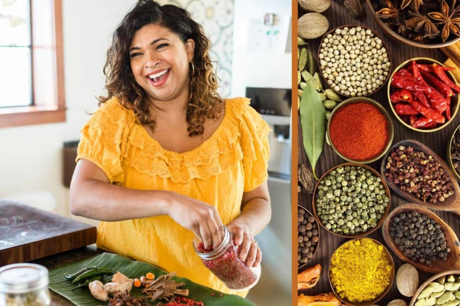 Aarti Sequeira cooks in a kitchen.