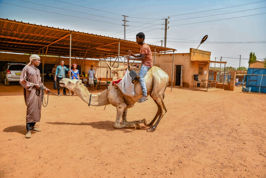 Young man is wearing jeans and an orange shirt. He is riding on a camel outside the Compassion center.