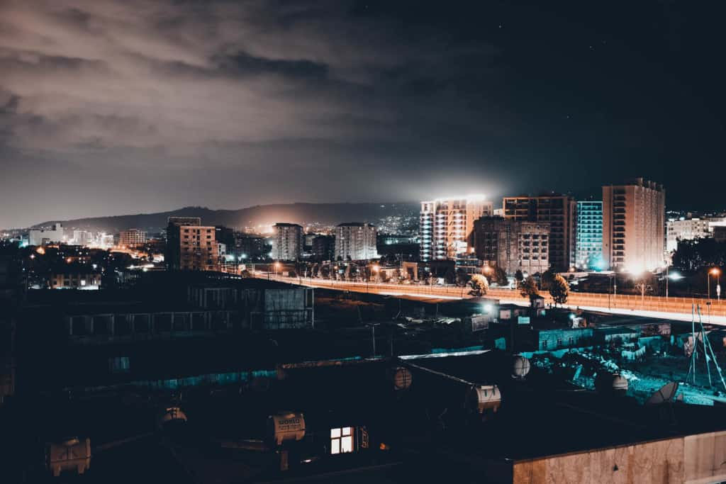 The city of Addis Ababa, Ethiopia at night
