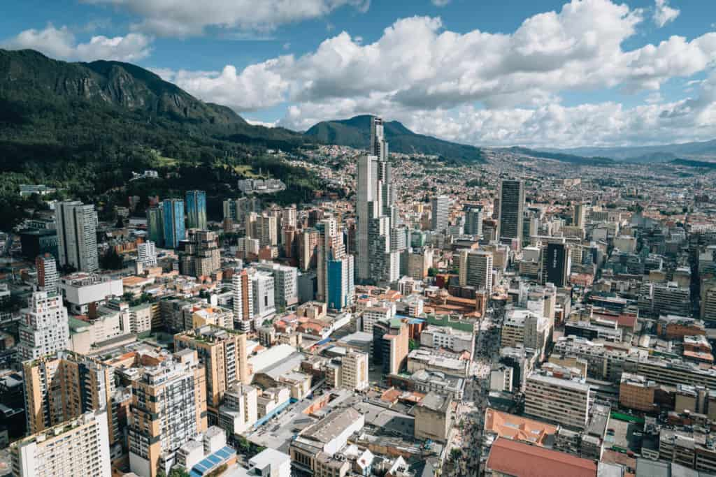 Aerial photograph of Bogota, Colombia