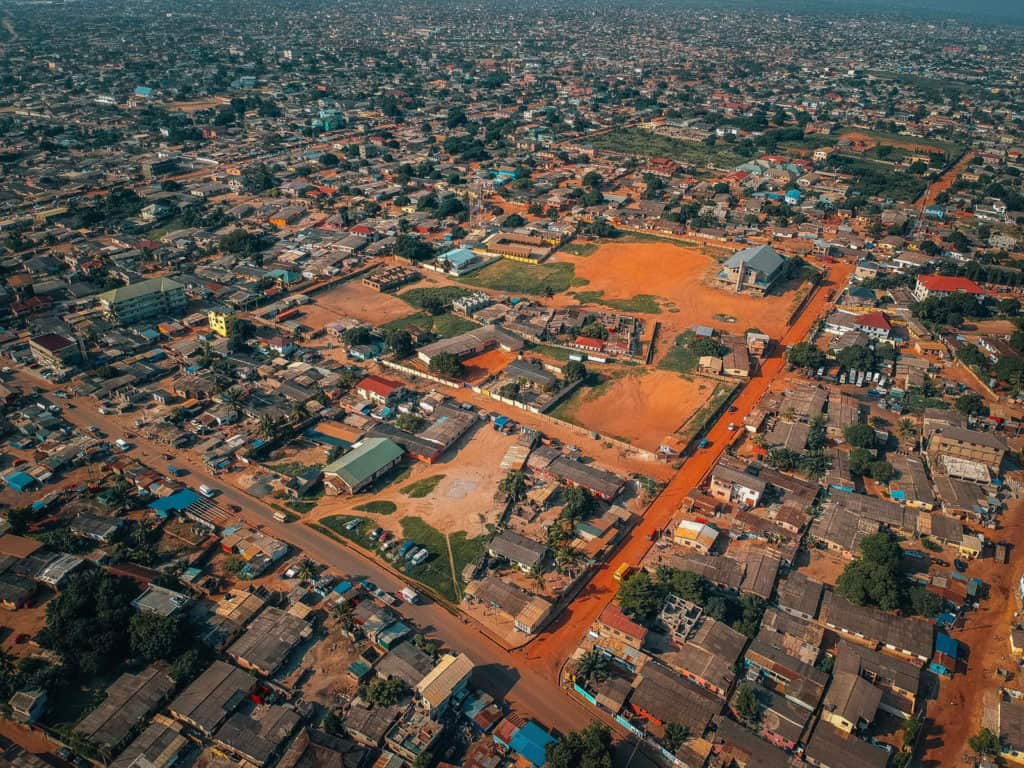 Aerial view of Accra, Ghana