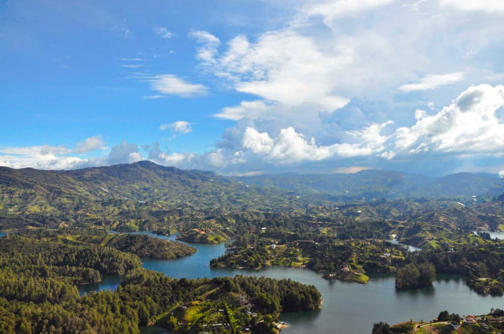 Aerial photograph of Guatape, Colombia