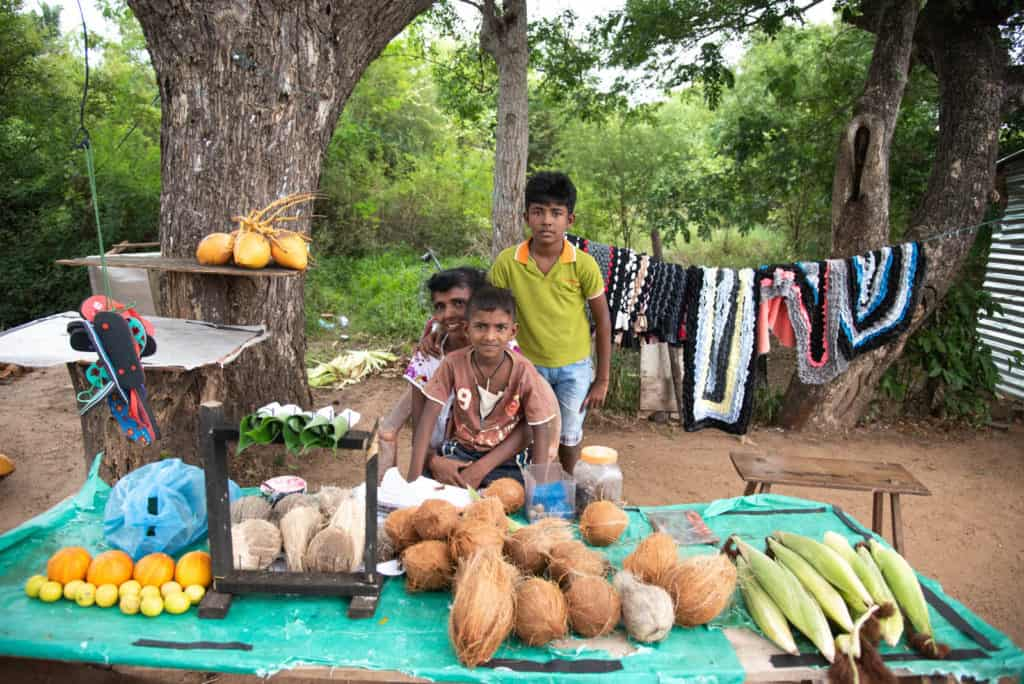 Jasintha sells seasonal goods with her two sons Hashen and Hasintha near the road side to travelers during the agricultural off season. They are all pictured here with the table of items they sell in front of them.