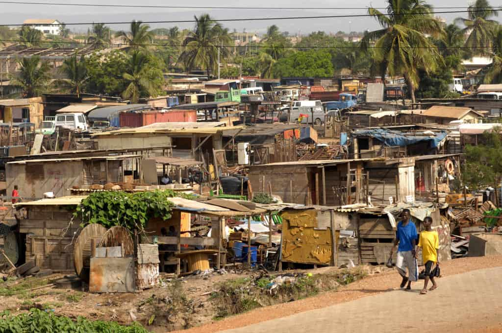 Slum housing area near the outskirts of Accra.