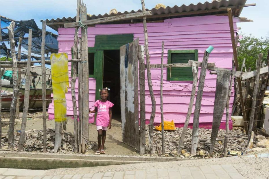 A girl wearing pink stands outside a small pink home with a tin roof. There is a fence made of pieces of wood and barbed wire around the home.