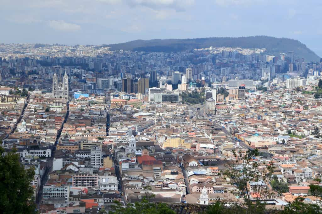 "View of historical Quito from virgin Mary statue ""El Panecillo"""