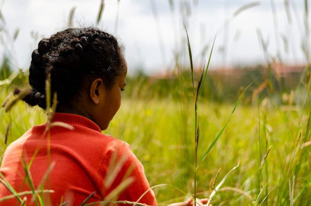 A girl with her hair in braids and wearing a red shirt sits in a grassy field.