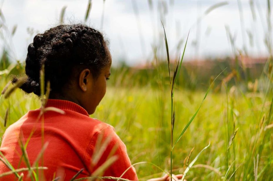 A girl wearing braids and a red shirt sits in a grassy field