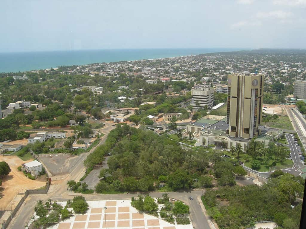 Aerial view of a city in Togo.