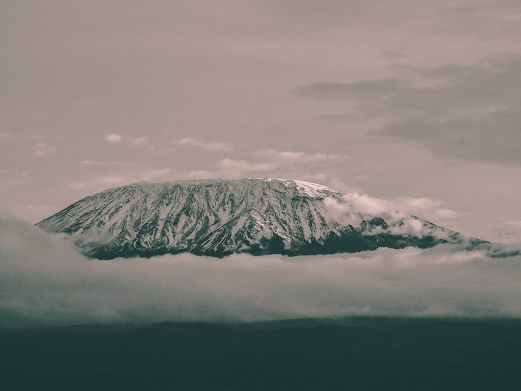 A picture of Mount Kilimanjaro in the fog.