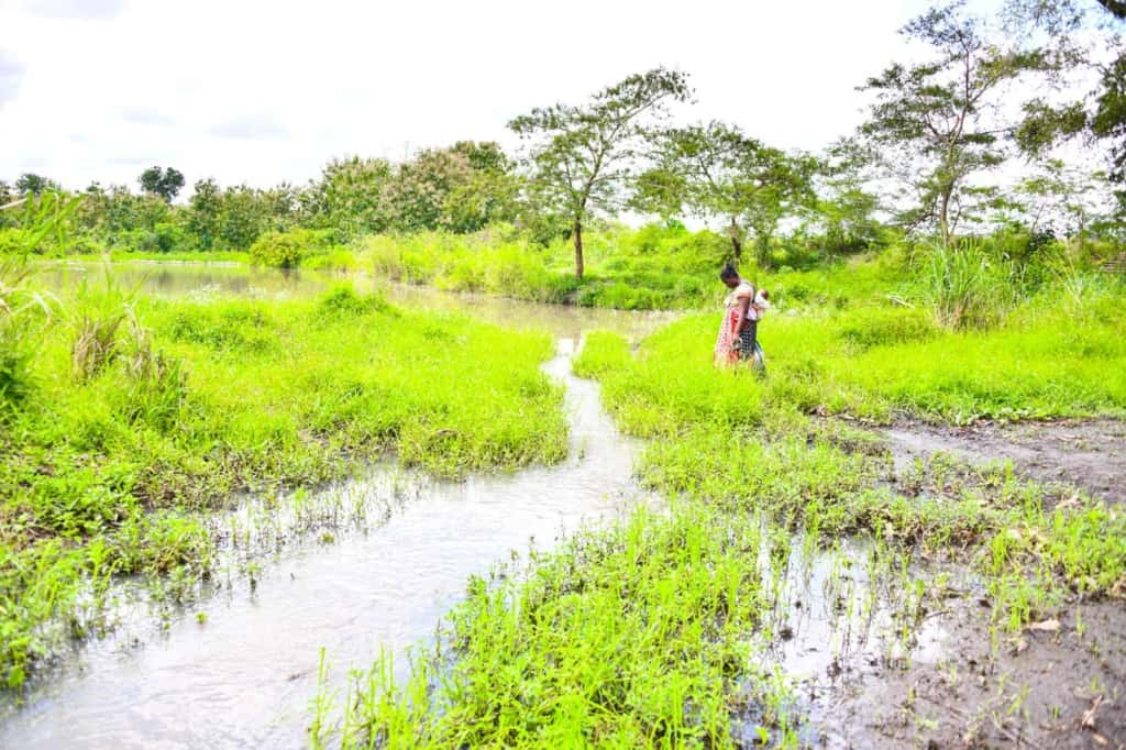Woman wearing a colorfully patterned dress and is carrying her baby in a sling on her back. She is walking outside to collect water from the dam. There is a small stream in front of her and trees behind her.