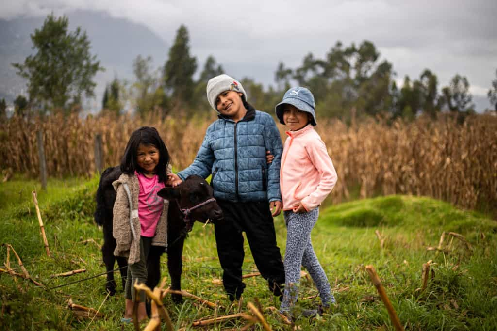 Aylin, wearing a pink shirt and tan jacket, Elian, wearing a blue jacket and black pants, and Leslie, wearing a pink jacket and gray pants, are standing in the field taking care of one of their calves.