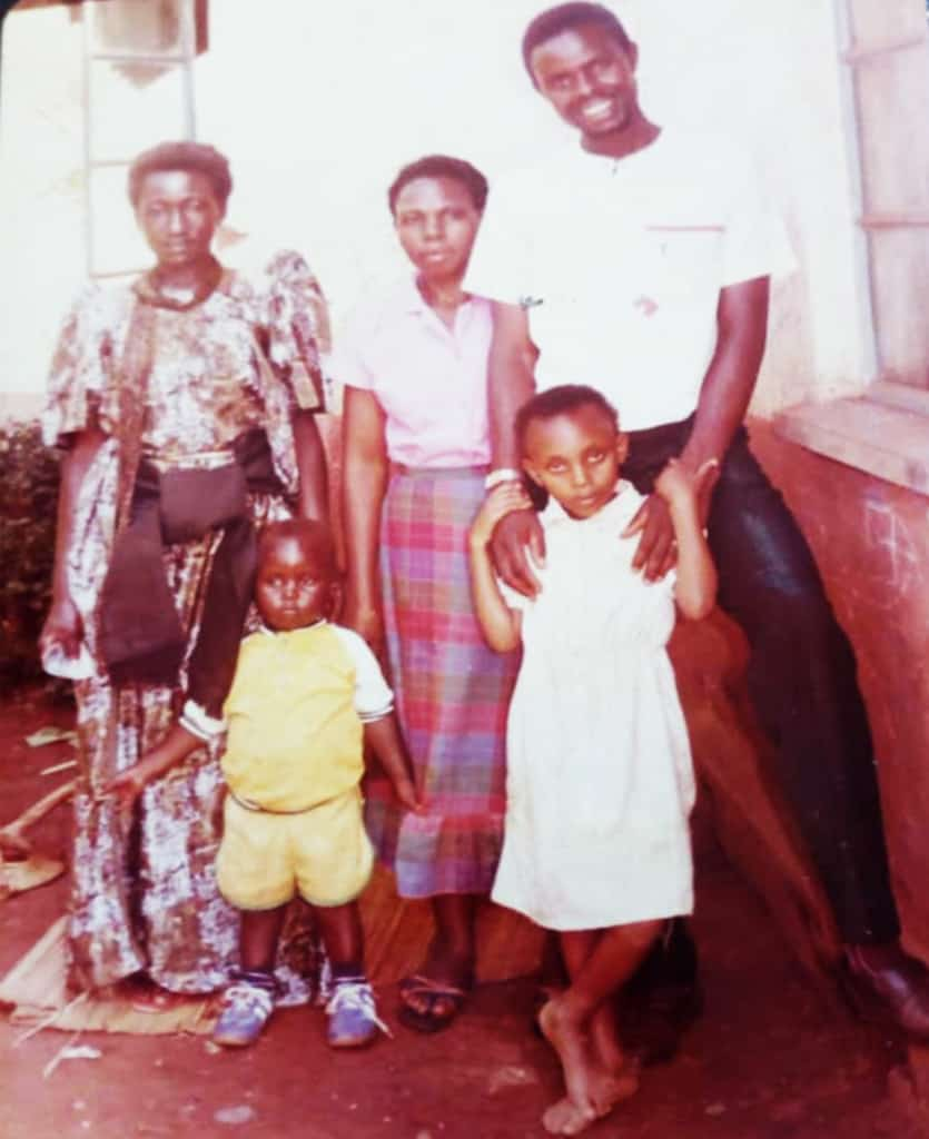 Norah, front right, with her uncle and other relatives