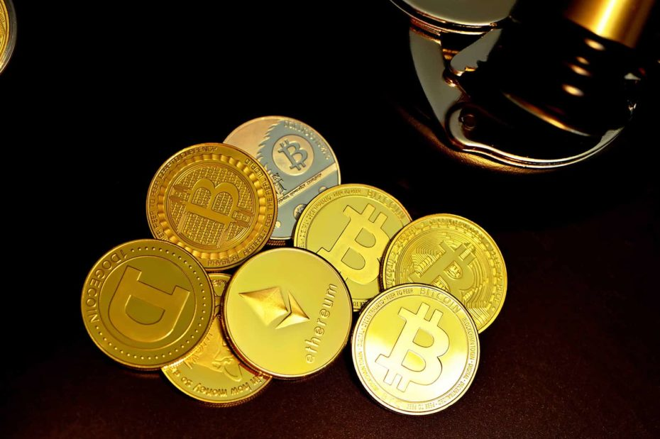 A photo depicting cryptocurrency coins such as bitcoin, Ethereum and Dogecoin